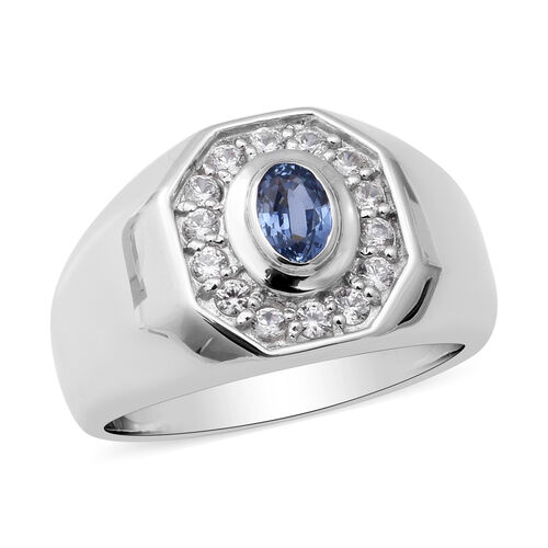 6.54 Ct Royal Ceylon Sapphire and Zircon Halo Ring in Rhodium Plated Sterling Silver