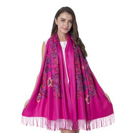 Pink Colour Flower Pattern Scarf with Embroidery (Size 182x66+9 Cm)
