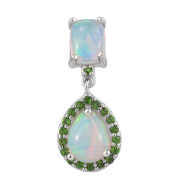 2.25 Ct Ethiopian Welo Opal and Russian Diopside Halo Pendant in Platinum Plated Sterling Silver