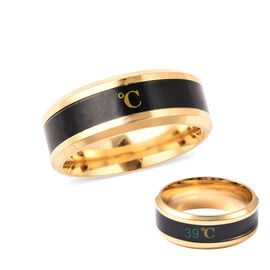 Celsius Temperature Band Ring in Black and Gold Tone