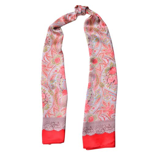 100% Mulberry Silk Red, Pink and Multi Colour Rose Flower and Leaves Pattern Scarf (Size 170x52 Cm), Finish Silk 50 Gram