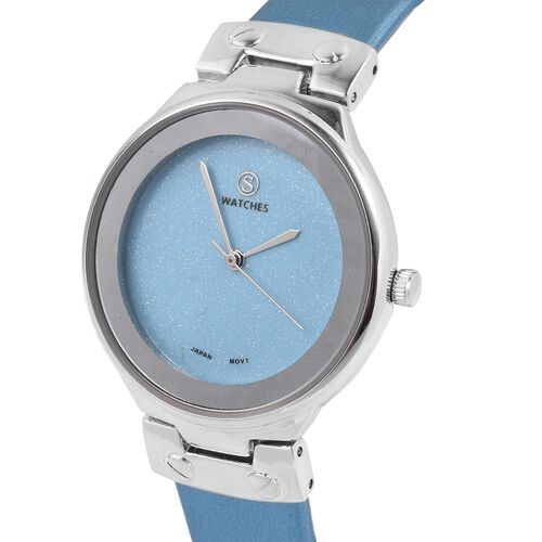 STRADA Japanese Movement Water Resistant Watch with Aquamarine Colour Strap