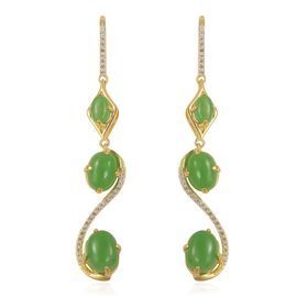Green Jade (Ovl), Natural White Cambodian Zircon Hook Earrings in Yellow Gold Overlay Sterling Silver 9.370 Ct. Silver wt 5.00 Gms.