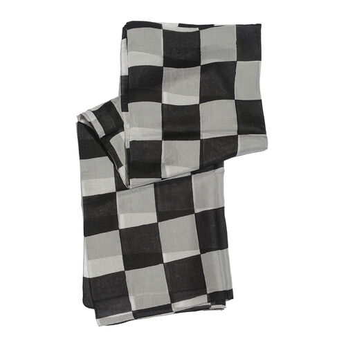 100% Mulberry Silk Black and White Colour Handscreen Geometric Printed White Colour Scarf (Size 180x100 Cm)