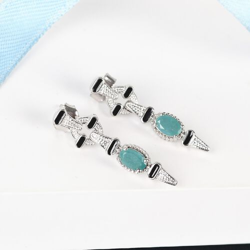 Grandidierite Dangle Enamelled Earrings (with Push Back) in Platinum Overlay Sterling Silver