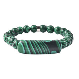 Malachite Stretchable Bracelet (Size 7.5) with Charm 89.00 Ct.