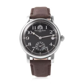 WILLIAM HUNT Japanese Movement Water Resistance Watch in Stainless Steel with Dark Brown Leather Str