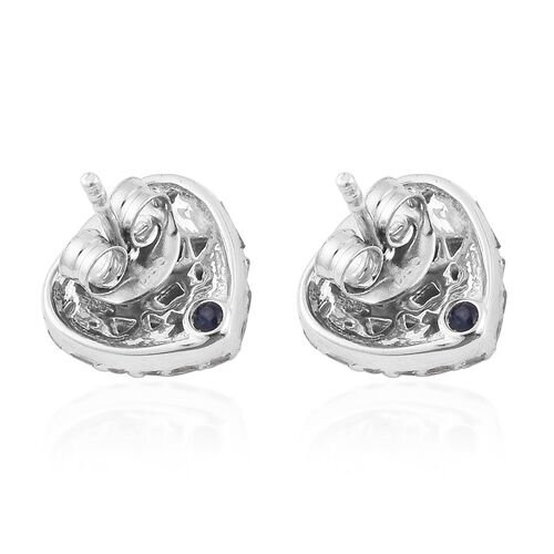 Valentine Special -GP - Natural Diamond and Blue Sapphire Heart Stud Earrings (with Push Back) in Platinum Overlay Sterling Silver 0.52 Ct.