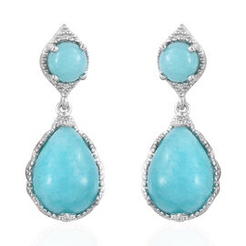 11.5 Ct Peruvian Amazonite Drop Earrings in Platinum Plated Sterling Silver 4.72 Grams With Push Bac