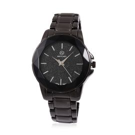STRADA Japanese Movement Water Resistant Black Stardust Dial Watch with Black Strap