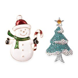 2 Piece Set - Multicolour Austrian Crystal (Rnd) Snowman and Christmas Tree Enamelled Brooch