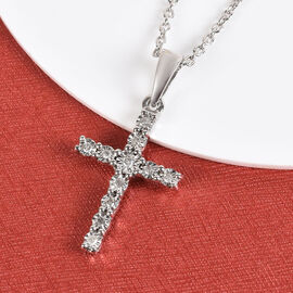 Diamond (Rnd) Cross Pendant with Chain (Size 20) in Platinum Overlay Sterling Silver 0.100 Ct.