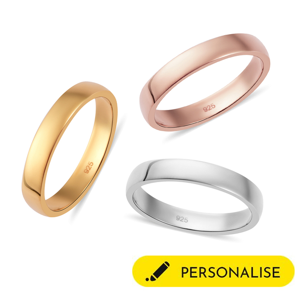 Personalised Engraved 4mm Secret Message Band Ring in Silver