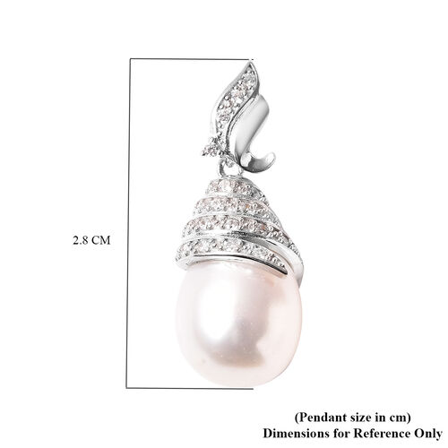 Freshwater White Pearl and Simulated Diamond Pendant in Rhodium Overlay Sterling Silver
