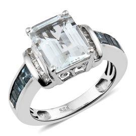 Designer Inspired- AAA Espirito Santo Aquamarine (Oct 10X8 mm), Blue Topaz and Natural Cambodian Zircon Ring in Platinum Overlay Sterling Silver 4.250 Ct.
