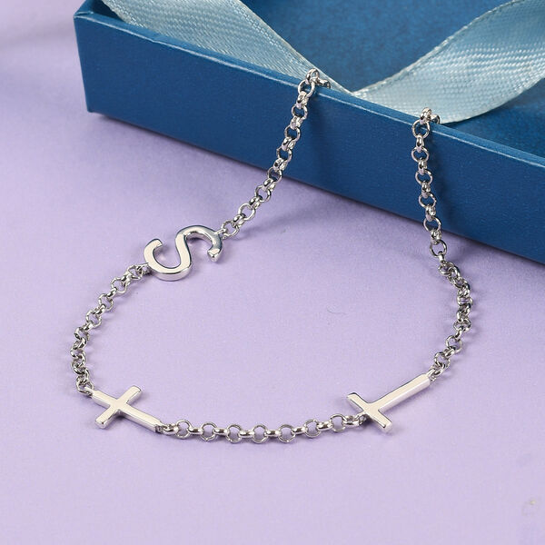Personalised Two Alphabet + Cross, Name Bracelet in Silver, Size - 7.5 Inch