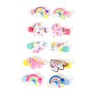 2 Piece Set - 10 Pcs Multi Colour Unicorn & Cloud Design Hair Clip (Size 4.5x2.5 Cm)