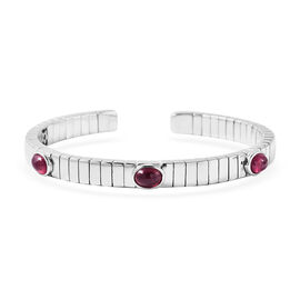 GP African Ruby and Blue Sapphire Bangle (Size 7.5) in Rhodium Overlay Sterling Silver 3.98 Ct.