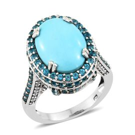 Arizona Sleeping Beauty Turquoise (Ovl 8.50 Ct), Malgache Neon Apatite and Natural Cambodian Zircon