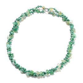 Green Agate and Simulated Emerald Beaded Necklace 60 Inch