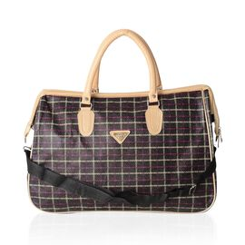 Brown Checker Pattern Large Weekend Handbag with Adjustable Shoulder Strap (Size 47x20x31 Cm)