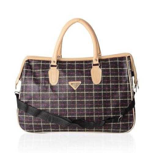 Brown Checker Pattern Large Weekend Handbag with Adjustable Shoulder Strap (Size 47x20x31 Cm)
