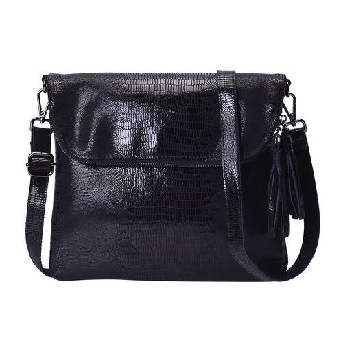 100% Genuine Leather Lizard Skin Pattern Crossbody Bag with Adjustable Strap (Size 24x3x24 Cm) - Bla