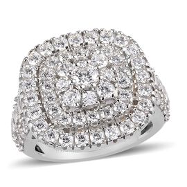 J Francis Platinum Overlay Sterling Silver Cluster Ring Made with SWAROVSKI ZIRCONIA