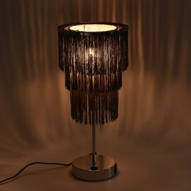 3 Layer Tassel Table Lamp with Two USB Port (H-42 Cm) - Black