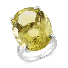 Natural Ouro Verde Quartz (Ovl 24x18 mm) Ring in Platinum Overlay Sterling Silver 26.000 Ct, Silver