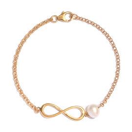 Freshwater Pearl (Rnd) Infinity Bracelet (Size 7.5) in 14K Gold Overlay Sterling Silver