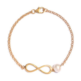 Freshwater Pearl (Rnd) Infinity Bracelet (Size 7.5) in 14K Gold Overlay Sterling Silver