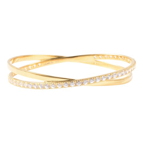 Isabella Liu Collection - Natural White Cambodian Zircon (Rnd) Bangle (Size 7.5) in Yellow Gold Over