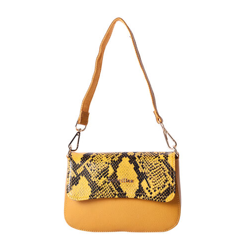 SENCILLEZ 100% Genuine Leather Crossbody Bag with Detachable Strap and Snake Skin Pattern Flap (Size