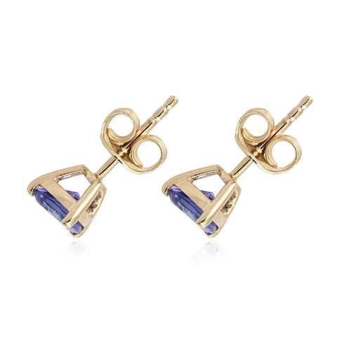 1.25 Ct AA Tanzanite Stud Earrings in 9K Yellow Gold (with Push Back)