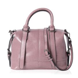 Summer Collection 100% Genuine Leather Light Purple Tote Bag with External Zipper Pocket and Removab