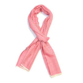 100% Cashmere Wool Pink Colour Geometric Pattern Scarf (Size 200x70 Cm)