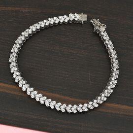 J Francis Platinum Overlay Sterling Silver Bracelet (Size 7) Made with SWAROVSKI ZIRCONIA 7.52 Ct, Silver Wt. 10.49 Gms