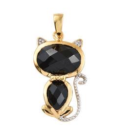 Boi Ploi Black Spinel (Ovl) Cat Pendant in 14K Gold Overlay Sterling Silver 5.250 Ct.
