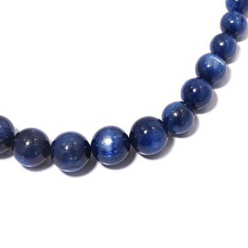 Signature Collection- AAAA Top Lustre Kashmir Blue Colour Himalayan Kyanite (Rnd 6-15 mm) Necklace (Size 20) with Magnetic Lock in Rhodium Overlay Sterling Silver 360.00 Cts.
