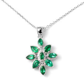 AAA Kagem Zambian Emerald (Mrq and Ovl), Diamond Pendant with Chain (Size 18 with 1.5 inch Extender)