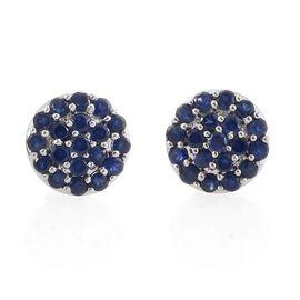 RHAPSODY 950 Platinum AAAA Kanchanaburi Blue Sapphire (Rnd) Stud Earrings (with Screw Back) 2.500 Ct