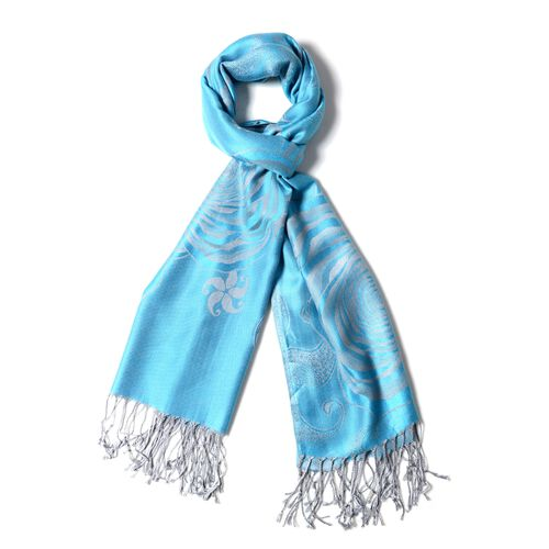 Blue and Beige Colour Scarf with Rose flower pattern (Size 180X70 Cm)
