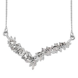 Diamond Platinum Overlay Sterling Silver Necklace (Size 18 with 2 inch Extender)  0.330  Ct.