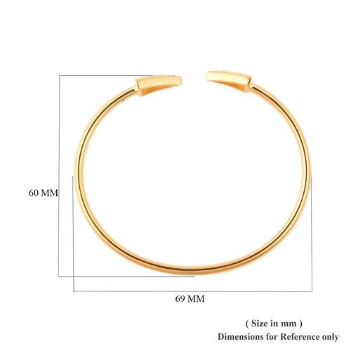 LucyQ Art Deco Collection - Natural White Cambodian Zircon (Rnd) Arrow Bangle (Size 7.5) in Yellow Gold Overlay Sterling Silver
