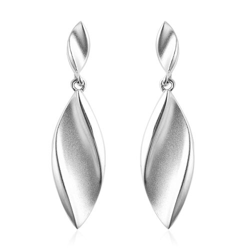 RACHEL GALLEY Rhodium Overlay Sterling Silver Sandblast Texture Leaf Design Earrings (with Push Back