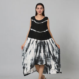 Tie & Dye Umbrella Dress in Black and White (Size upto 20)