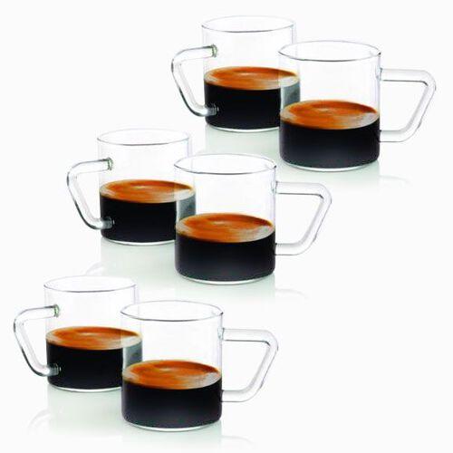 Set of 6 Kitchen Utencils - Borosilicate Glass Espresso Mug (Size 5x6 and 120ml)