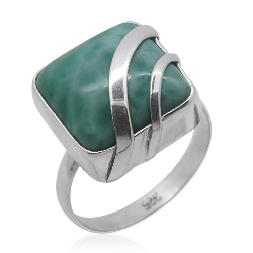 Royal Bali Collection Larimar (Cush) Ring in Sterling Silver 11.060 Ct.