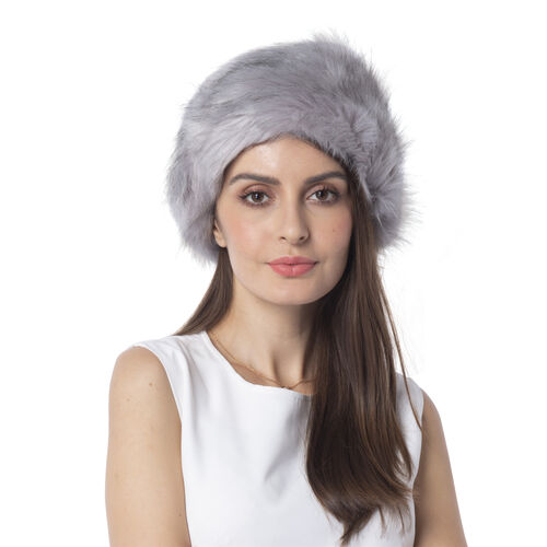 Grey Colour Faux Fur Hat (Size 56 Cm)